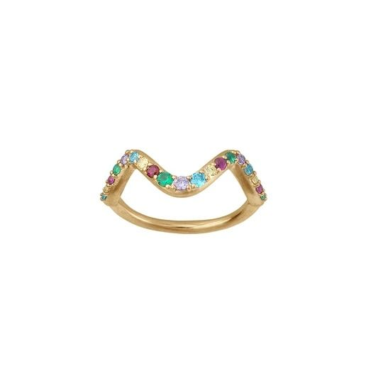 byBiehl - Wave rainbow ring small - 5-3705m-GP