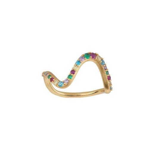 byBiehl - Wave rainbow ring large - 5-3706m-GP