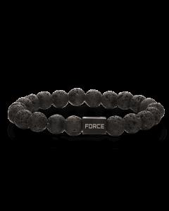 Scrouples - *Armbånd lava sten  med stål bead - 02371,23