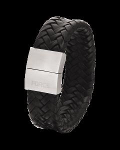 Scrouples - *Armbånd sort læder med stål bead - 02531,23