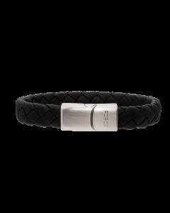 Scrouples - *Armbånd sort flettet læder m. stål bead - 02951,23