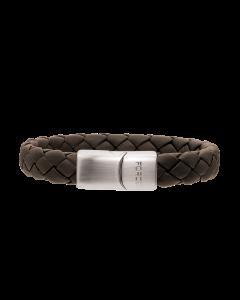 Scrouples - *Armbånd brunt flettet læder m. stål bead - 33482,42