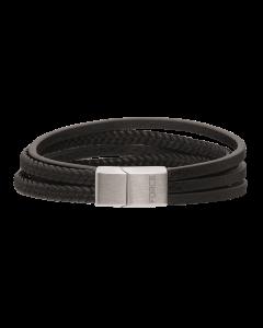 Scrouples - *Armbånd sort flerrække flettet læder m. stål bead - 34692,42