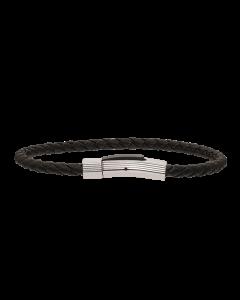 Scrouples - *Armbånd sort flettet læder m. stål bead - 03011,19