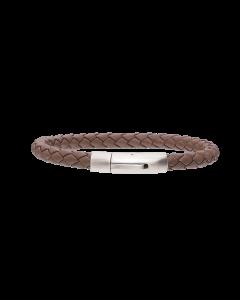 Scrouples - *Armbånd brunt flettet læder m. stål bead - 11,13