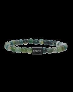 Scrouples - *Armbånd mos agate m. stål bead - 03011,23