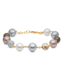 """Mads Z - 14 kt. armbånd """"Treasure"""" m.rutil-,røgkvarts,perle - 1556006"""