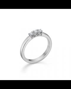 "Mads Z - 14 kt. hvg.ring ""Crown Alliance"" 3 x 0,04 ct. W.SI - 1641843"