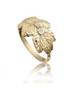 Bykjaergaard - Egeblad ring 18 karat guldbelagt sølv med champagne farvet diamant -  jbrg1857d