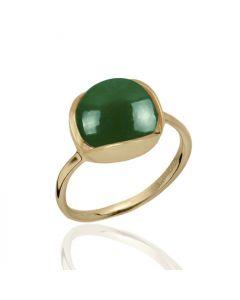 Bykjaergaard - Glory 18 karat guldbelagt sølv ring med cabochon slebet grøn onyx -  glrg0333go