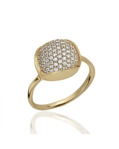 Bykjaergaard - Glory 18 karat guldbelagt sølv ring prydet med hvide topas ædelsten -  glrg0800wt