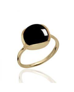 Bykjaergaard - Glory 18 karat guldbelagt sølv ring med cabochon slebet sort onyx -  glrg0333bo