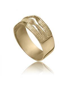 Bykjaergaard -  Edgy bred rillet ring 18 karat guldbelagt sølv -  edrg0914