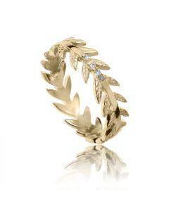 Bykjaergaard - Arktisk pil ring 18 karat guldbelagt sølv med champagne farvede diamanter -  jbrg0330d