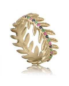 Bykjaergaard - Arktisk pil ring 18 karat guldbelagt sølv med rubiner, safirer og smaragder -  jbrg1538