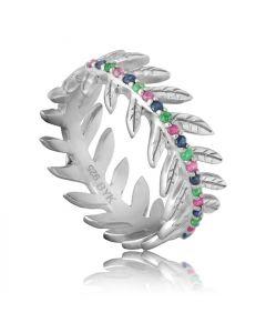 Bykjaergaard - Arktisk pil ring sølv med rubiner, safirer og smaragder -  jbrs1538