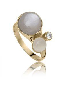 Bykjaergaard - Bee ring 18 karat guldbelagt sølv med hvid og grå månesten -  berg0311gmwmz
