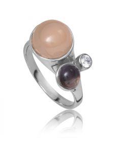 Bykjaergaard - Bee ring sølv med røg quarts og rosa calcedon -  bers0311rcsqz
