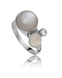 Bykjaergaard - Bee ring sølv med hvid og grå månesten -  bers0311gmwmz