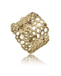 Bykjaergaard - Bee ring 18 karat guldbelagt sølv med røg quartz -  berg0473