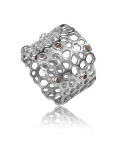 Bykjaergaard - Bee ring sølv med røg quartz -  bers0473