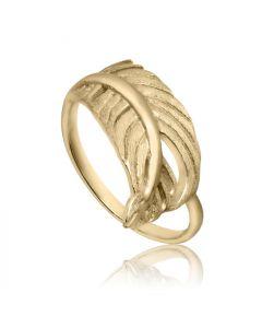 Bykjaergaard - Feather ring 18 karat guldbelagt mat og blank sølv -  ferg0142