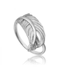 Bykjaergaard - Feather ring mat og blank sølv -  fers0142