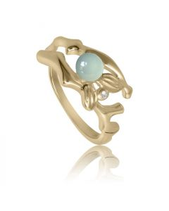 Bykjaergaard - Fairytale ring 18 karat guldbelagt sølv med aqua kalcedon og hvid topas -  sfarg1348wtac