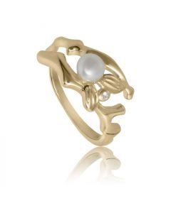 Bykjaergaard - Fairytale ring 18 karat guldbelagt sølv med ferskvandsperle og hvid topas -  sfarg1348wtpl