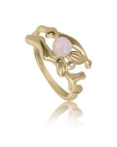 Bykjaergaard - Fairytale ring 18 karat guldbelagt sølv med rosa kalcedon og hvid topas -  sfarg1348wtrc