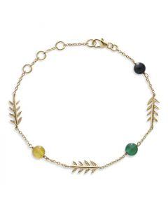 Bykjaergaard - Arktisk pil armbånd 18 karat guldbelagt sølv med gul kalcedon, sort onyx og grøn onyx -  jbbg0936ycbogo
