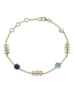 Bykjaergaard - Arktisk pil armbånd 18 karat guldbelagt sølv med hvid agat, blå topas og blå lapis lazuli -  jbbg0936wabtll