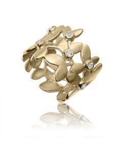 Bykjaergaard - Forest blad ring 18 karat guldbelagt sølv med hvide topas ædelsten -  forg0946wt