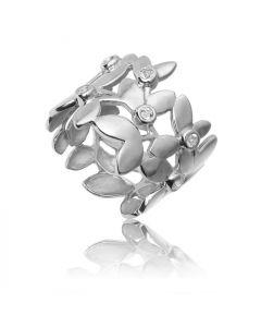 Bykjaergaard - Forest blad ring sølv med hvide topas ædelsten -  fors0946wt
